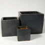 CUBE PLANTER - GRAPHITE W/RUBBED EDGE