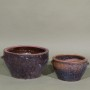 RUSTIC BOWL W/HANDLES - PURPLE